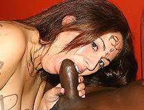 Brunette interracial marked sucks black eats cum