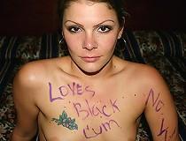 Brunette interracial marked sucks black eats sperm