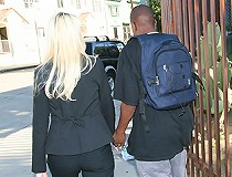 Hot blond Cougar MILF gets interracial creampie