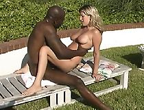 Blonde teen in interracial threesome & cumeating
