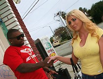Blonde with big tits does a home made interracial pov movie