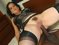 Sexy brunette mom loves the black cock